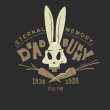 Bugs Bunny Funny Vintage Pattern For Clothing, Printing On A T-shirt Or Tattoo: Animated Skull Of A Rabbit's Skeleton. On A Black Background The Head Of A Rabbit, A Hare Of Bunny.