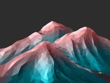 Polygonal Mountain Rose Quartz Gradient