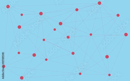 Plakat Czerwone kropki połączone trójkątem, połączeniem, światowymi połączeniami. Abstrakcyjne tło. Streszczenie tapety. Różne kształty i rozmiary połączone razem