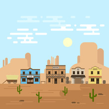 Vector Illustration Of An Old Western Town In A Daytime.