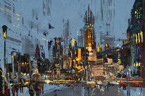 cyfrowy obraz miasta nocą z kolorowymi światłami.