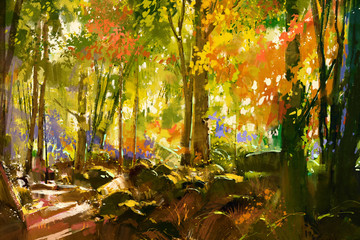 Fototapetabright forest,beautiful nature in spring,illustration painting