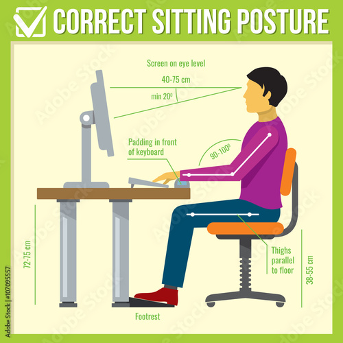 Fotografía  Correct sitting posture. Vector infographics