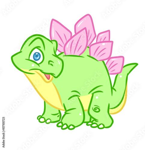 Spoed Foto op Canvas Magische wereld Dinosaur Stegosaurus green cute cartoon illustration isolated image animal character