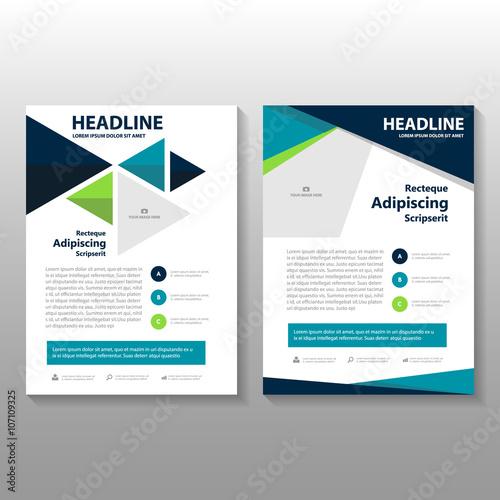 blue green vector leaflet brochure flyer template design book cover