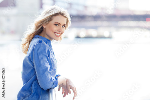 Canvas Prints Textures Beautiful woman with long blond hair.