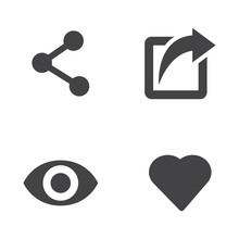 Vector Like Share View Icon Se...