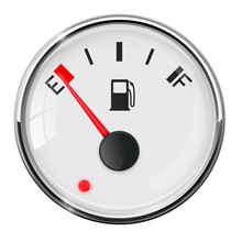 Fuel Gauge. Empty. With Chrome Frame
