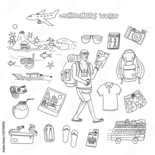 6979afd2bf Backpackers world. Travel. Doodle set in vector isolated on a white  background.