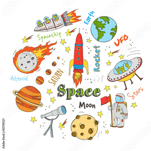 Foto op Aluminium Kosmos Astronomy hand drawn doodles. Stars, planet and space transportation used for school education and document decoration. Vector illustration.