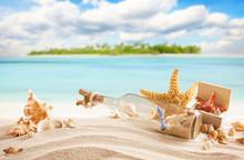Sandy Tropical Beach With Isla...