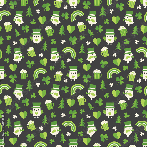 Seamless Background Pattern For St Patrick S Day With Cute Irish