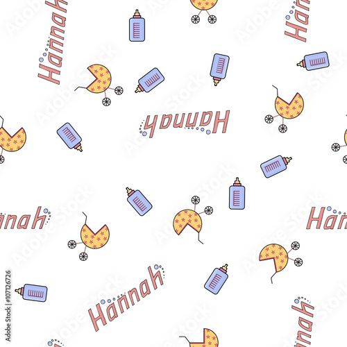 Seamless background pattern name of the newborn Hannah Poster
