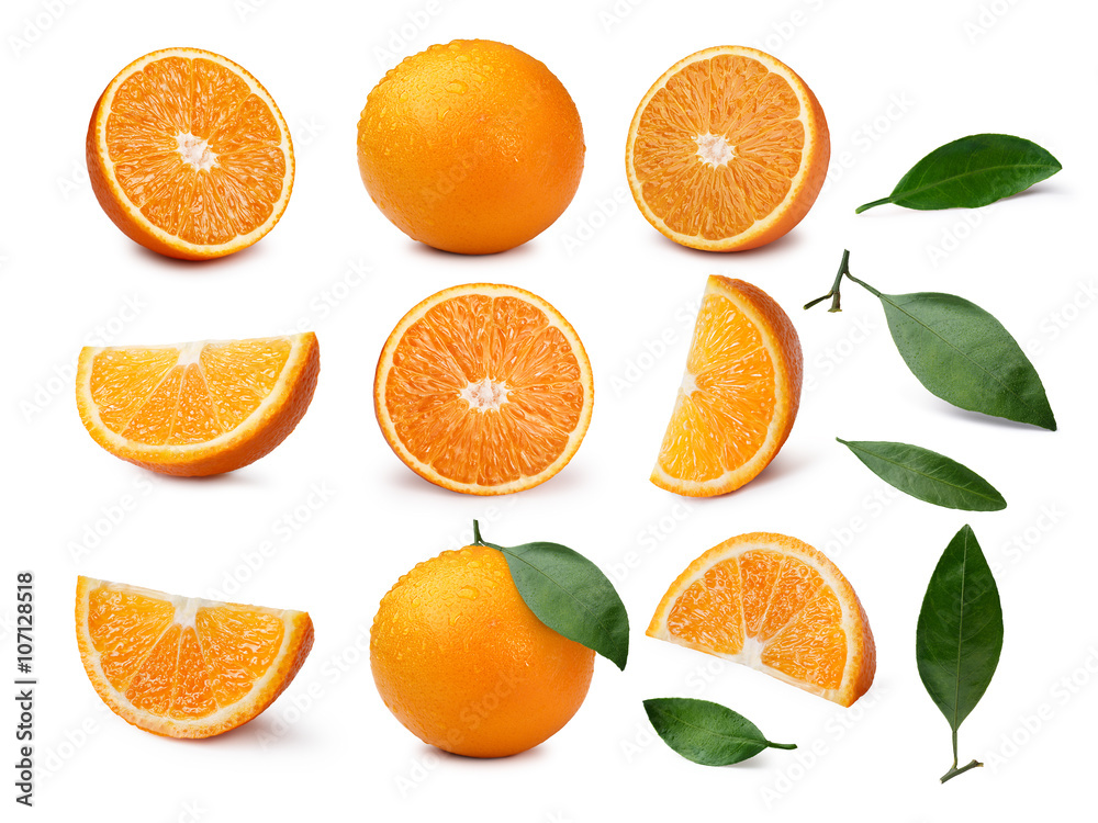 Fototapety, obrazy: Set of whole and sliced oranges with leaves