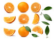Set of whole and sliced oranges with leaves