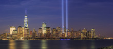 911 Memorial Light And New York City Skyline