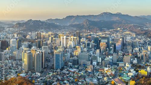 Seoul city South korea panorama,sunset time Fototapet