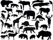 thirty two isolated animals silhouettes