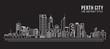 Cityscape Building Line art Vector Illustration design - Perth City