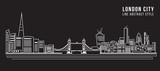 Fototapeta Londyn - Cityscape Building Line art Vector Illustration design - London city