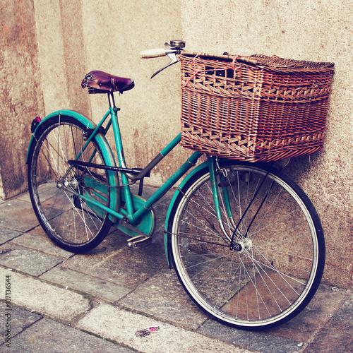 Deurstickers Fiets Old vintage Italian bicycle. Filtered image.