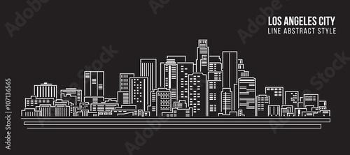 Fényképezés Cityscape Building Line art Vector Illustration design - Los Angeles City