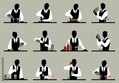 Fotografia  Set of silhouettes of a bartender prepares cocktails Stock vecto