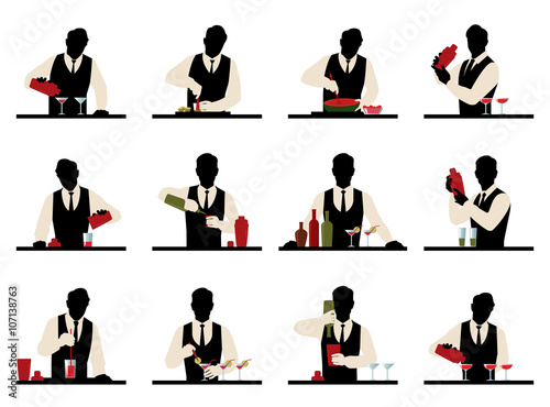 Photo Set of silhouettes of a bartender prepares cocktails vector stoc