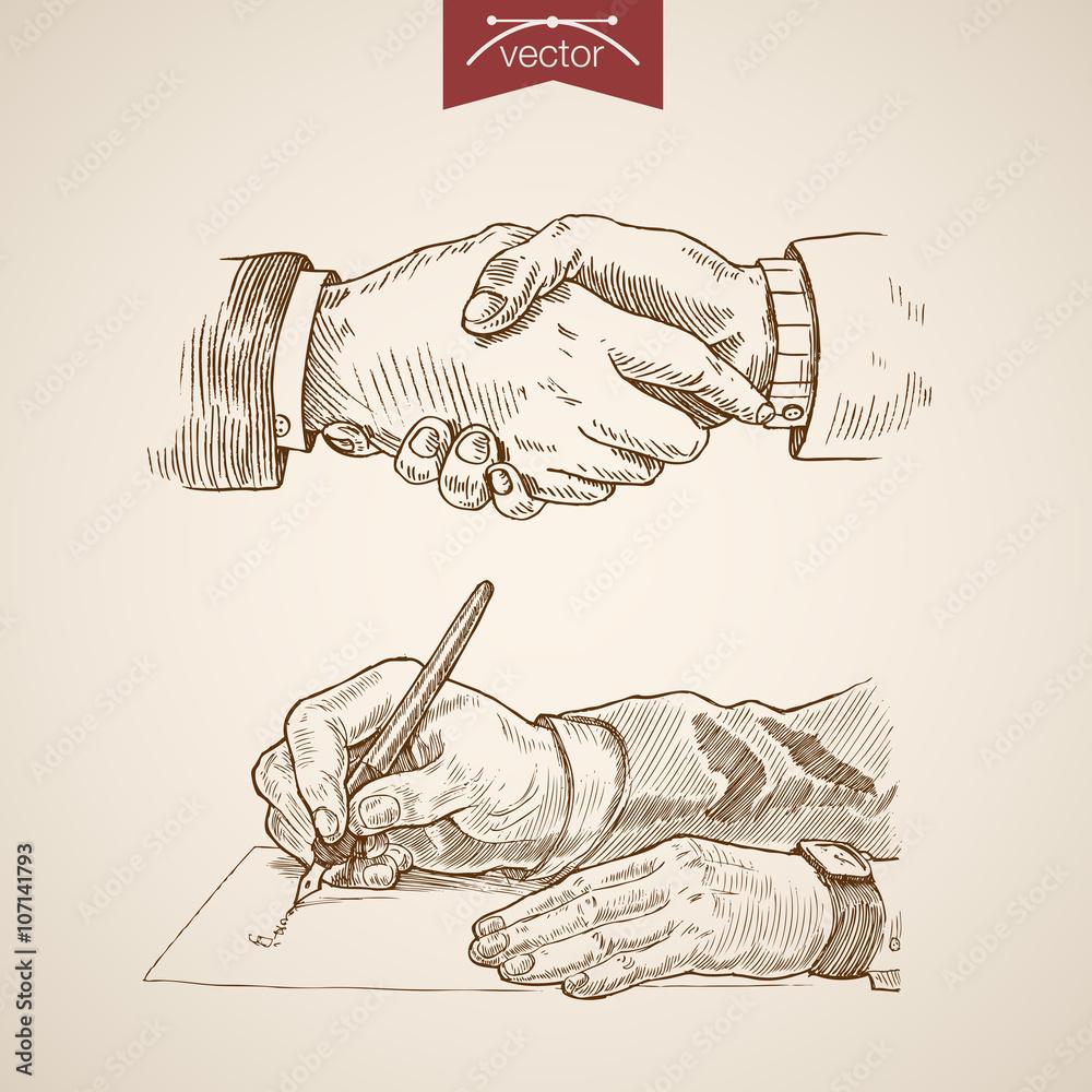 Valokuva  Businessman handshake contract deal engraving vintage vector