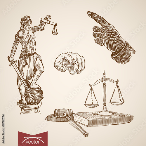 Valokuva  Law legal Themis Justice Lady scales engraving vintage vector