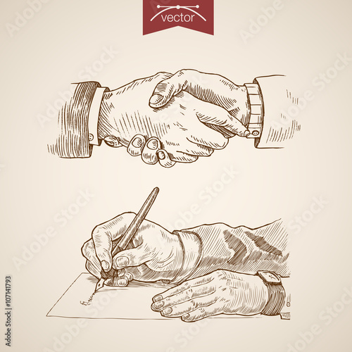 Valokuva  Businessman handshake contract deal engraving vintage vector