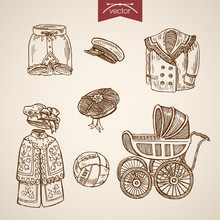 Victorian Traditional Children Clothes Engraving Vintage Vector