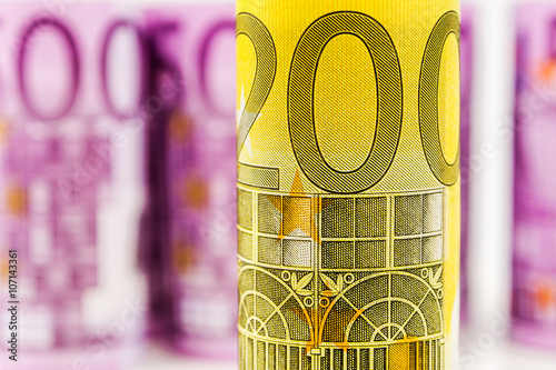 Tela  closeup view of 200 euro rolled banknote