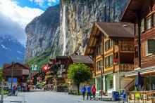 Famous Lauterbrunnen Town And Staubbach Waterfall,Bernese Oberland,Switzerland,Europe