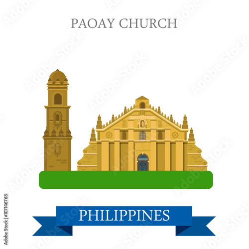 Poster Castle Paoay Church Philippines vector flat attraction sightseeing