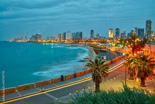 Obraz na płótnie Tel Awiw, Izrael. Po zachodzie słońca widok z Jaffa