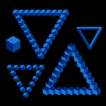 Vector Triangle Isometric Shape Of  Blue Color.