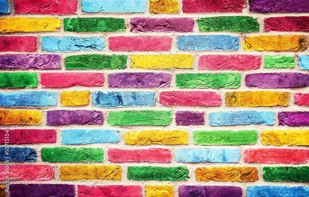 Fototapety, obrazy: Bunte farbige Ziegelsteine..Farbenfrohe Mauer..Geeignet als Hintergrund oder Textur