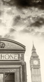 Black and white view of London Phone Booth - 107152772