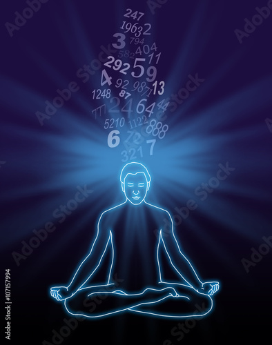 number streaming meditation - outline diagram of a male in lotus position  with a blue light burst behind his head and a stream of random numbers  flowing