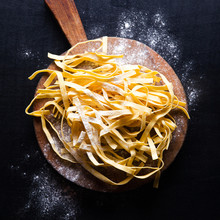 Fresh Pasta On Vintage Cutting Board