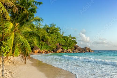 fototapeta na lodówkę paradisiac anse georgette beach in seychelles praslin island