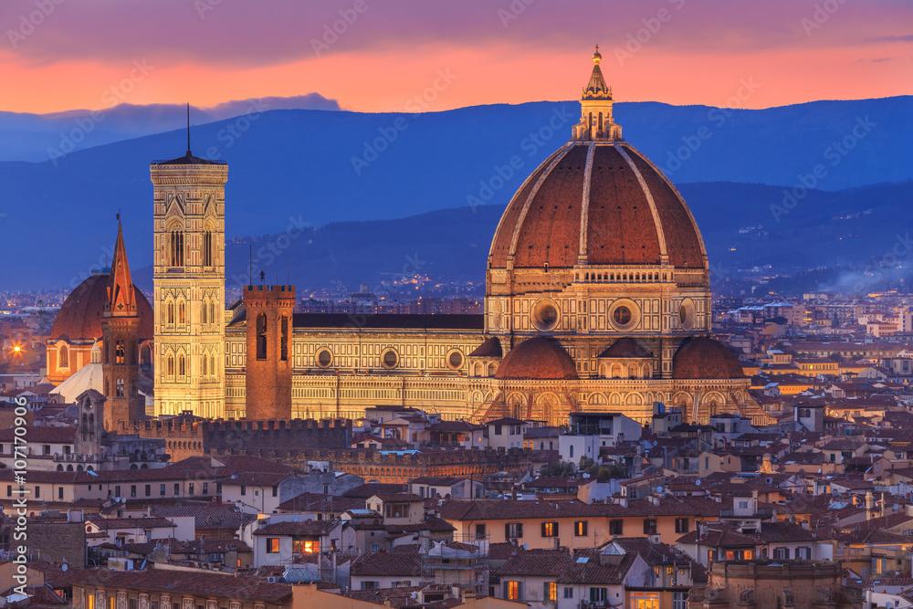 Fototapety, obrazy: Zmierzch nad Florencja, Toskania, Włochy