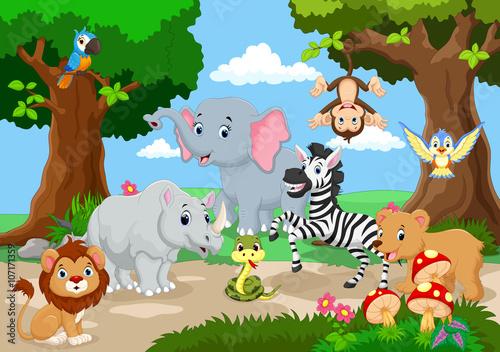 Wall Murals Ranch Wild Animal playing in a beautiful garden