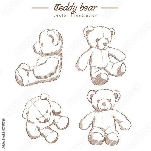 Stampa su Tela Hand drawn teddy bear