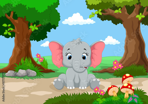 Canvas Prints Bears Funny elephant with a background of a beautiful garden