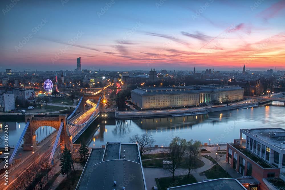 Fototapety, obrazy: Wrocław, widok z lotu ptaka, panorama miasta