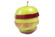 зелёно-красное яблоко на белом фоне