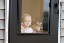 Baby And Pet Dog Waiting At Do...
