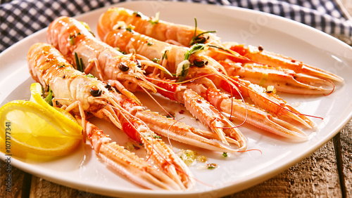 Langoustine Shellfish on Platter with Lemon Slices Wallpaper Mural